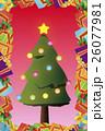 背景素材,クリスマスカード,ツリー,招待状,もみの木,プレゼント,贈り物,デコレーションオーナメント 26077981