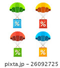 Vector colorful parachute with paper bag sale icon 26092725