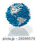 白バック アメリカ 地球儀のイラスト 26099574