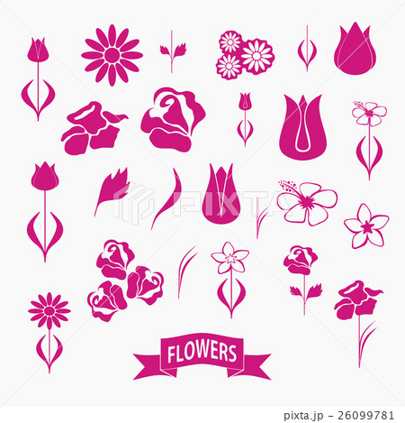 set of flowers, nature paper, vector pictureのイラスト素材 [26099781] - PIXTA