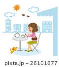 スマホ カフェ 女性のイラスト 26101677