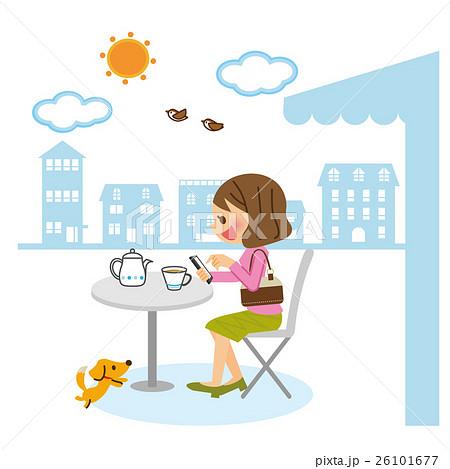 カフェでスマホ 26101677