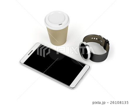 Smartphone, smartwatch and coffee cupのイラスト素材 [26108135] - PIXTA