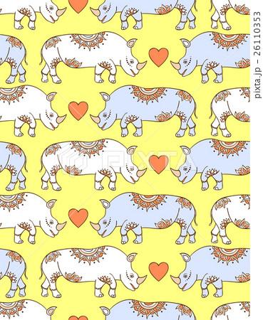 pattern with colorful rhinocerosesのイラスト素材 [26110353] - PIXTA
