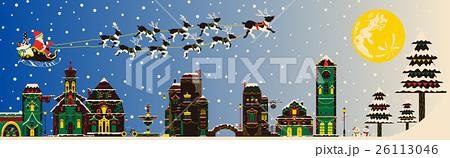 【季節の行事・風物詩(12月/クリスマス/冬)】そりをひくサンタクロース 26113046