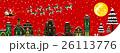 【季節の行事・風物詩(12月/クリスマス/冬)】そりをひくサンタクロース 26113776