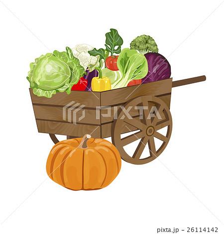 Wooden cart with vegetables.のイラスト素材 [26114142] - PIXTA