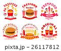 Fast food snack, dessert menu signs, icons set 26117812