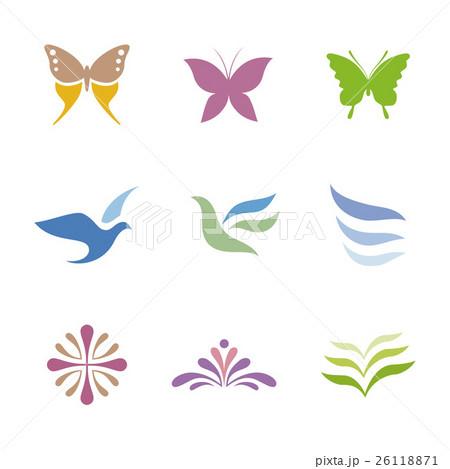 蝶や鳥、花のシンボルデザイン 26118871