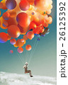 sky traveller,man floating with colorful balloons 26125392