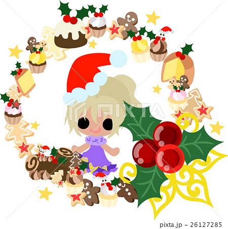 クリスマスと女の子の可愛いイラスト お菓子のリース のイラスト素材