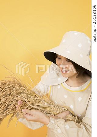 稲の出来具合を見る米農家女性の...