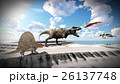 Flying pterodactyl over the land 3d illustration 26137748