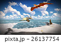 Flying pterodactyl over the land 3d illustration 26137754