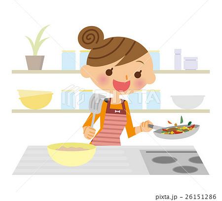 お料理する女性のイラスト素材 26151286 Pixta