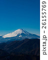 雪を被った富士山と天高く舞うパラグライダー - 年賀状向け - 26155769