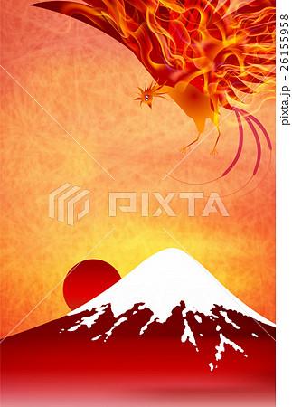 酉 火の鳥 年賀状 背景 のイラスト素材 26155958 Pixta