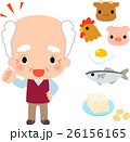 蛋白源となる食品と笑顔のシニア男性 26156165