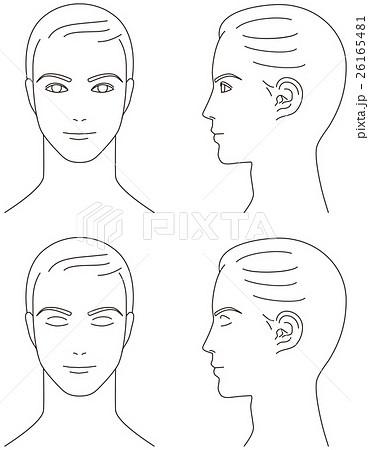 男性の顔 正面と横顔のイラスト素材 26165481 Pixta