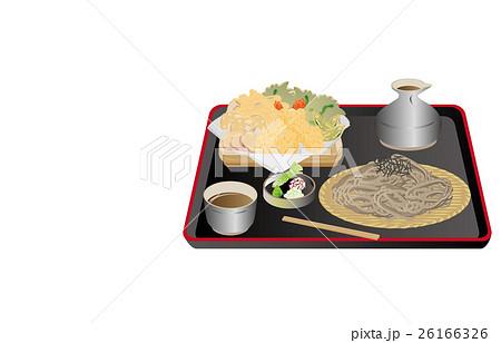 今日のご飯ざる蕎麦と天ぷらのイラスト素材 [26166326] - PIXTA