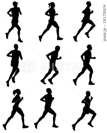 marathon runners silhouettes 26170924