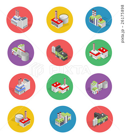 Flat industrial buildings and factories icons 26175898