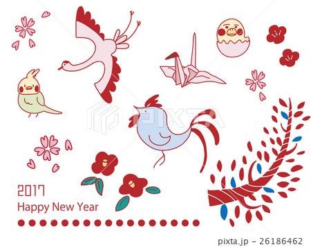 年賀酉年シンプルかわいい鳥素材のイラスト素材 26186462 Pixta