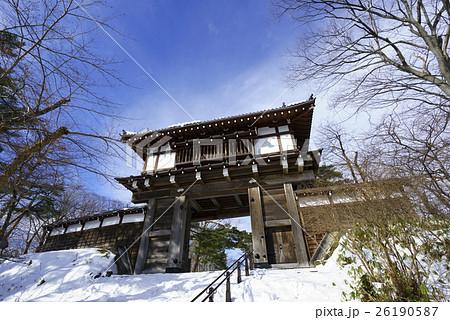 久保田城表門The main gate of Kubota Castle雪景色と青空 26190587