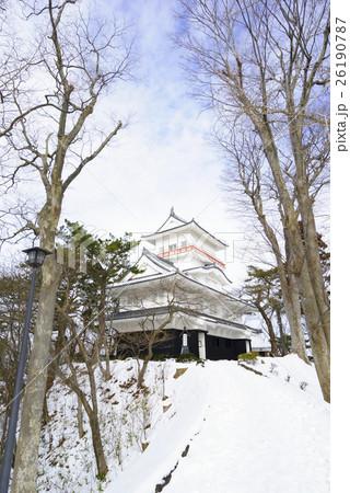 久保田城御隅櫓Tower of Former Kubota Castle貴重な冬の晴れ間青空と雪 26190787