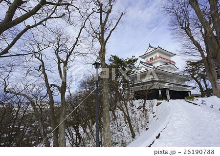 久保田城御隅櫓Tower of Former Kubota Castle貴重な冬の快晴の青空と雪 26190788