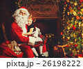 happy child girl hugging Santa 26198222