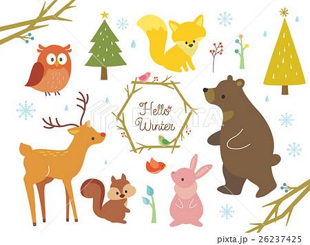 冬の動物のイラストのイラスト素材