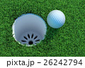 Golf ball on the green lawn. 3D illustration 26242794