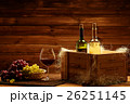 Bottles of red and white wine, glass and grape on 26251145