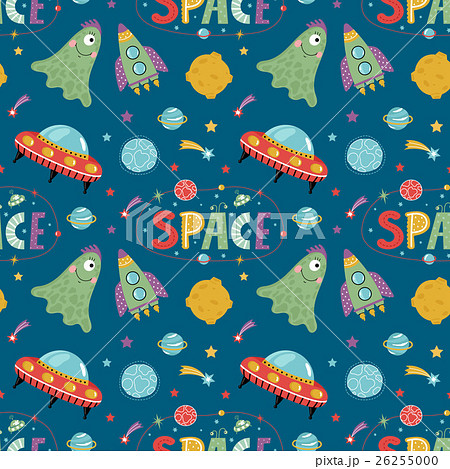 Space Aliens Cartoon Vector Seamless Patternのイラスト素材 [26255000] - PIXTA