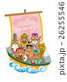 年賀状 宝船 七福神のイラスト 26255546