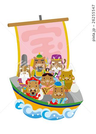 【年賀状】宝船に乗る七福神(イノシシ) 26255547