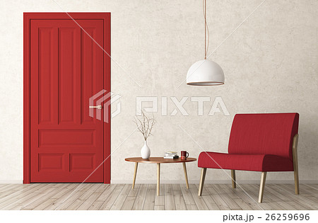 Modern living room interior door and armchair 3d for Aleso3d interior 026 lounge room