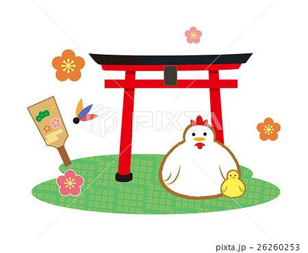 お正月神社の鳥居 ニワトリ酉年イラストのイラスト素材 26260253 Pixta
