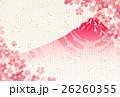 桜 富士山 年賀状 背景  26260355