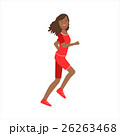 Happy Jogger Girl Running In Red Sportive Outfit 26263468