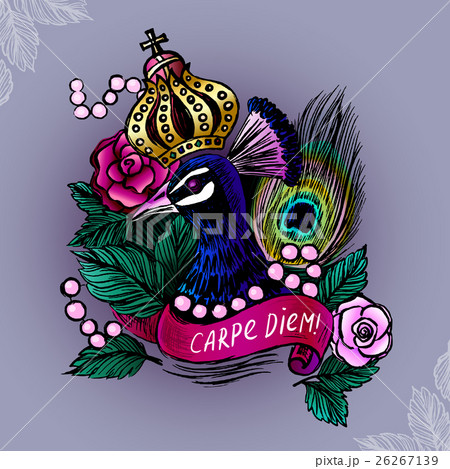 Illustration with crowned peacockのイラスト素材 [26267139] - PIXTA