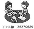 デジタル_調べ学習_二人_モノクロ 26270689