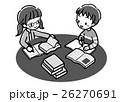書籍_調べ学習_二人_モノクロ 26270691