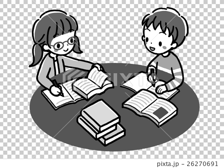 Book _ study study _ two people _ monochrome 26270691