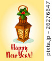 Happy New Year. Lamp cande lantern with holly bow 26276647