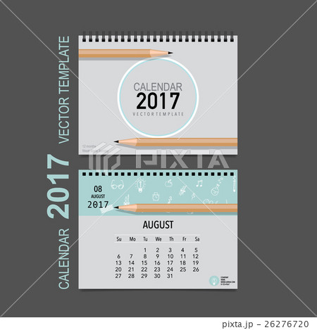 2017 Calendar planner vector design, monthly calendar template for August.のイラスト素材 [26276720] - PIXTA