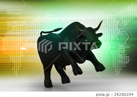 Rising black business bull in color background 26280204