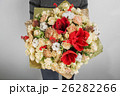 rich bouquet with hydrangea in woman hand 26282266