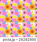 華やかでカラフルな色んな花の総柄シームレスパターン ガーベラ・コスモス・ネモフィラ・タンポポ 26282800